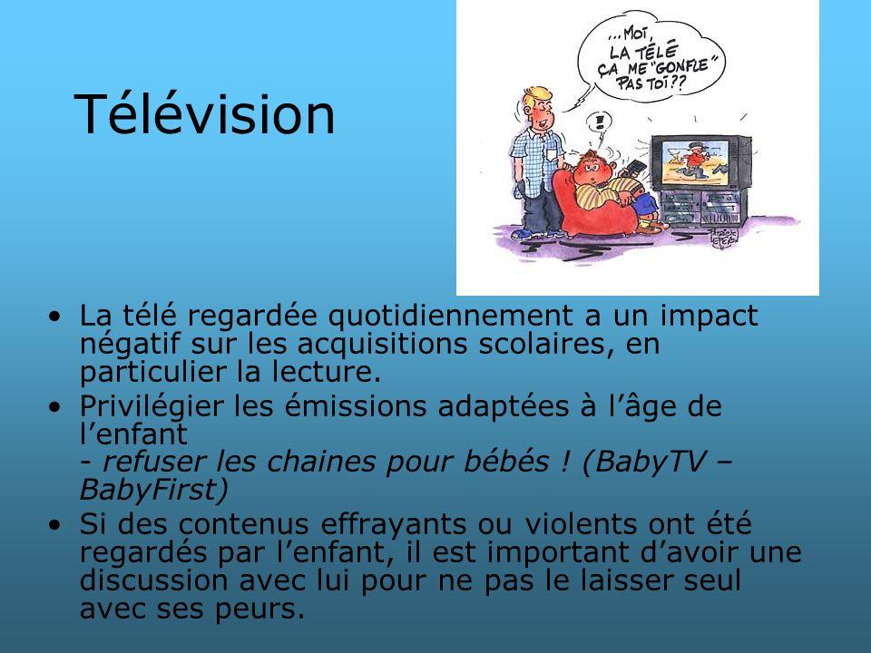 Télévision La télé regardée quotidiennement a un impact négatif sur les acquisitions scolaires, en particulier la lecture. Privilégier les émissions a
