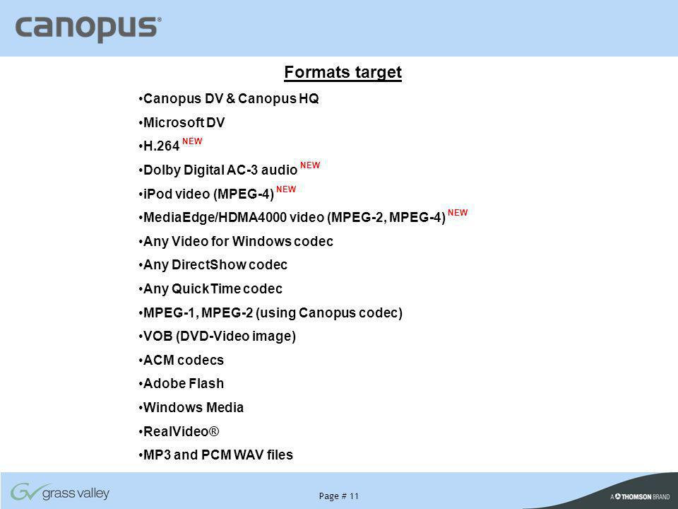 Page # 11 Formats target Canopus DV & Canopus HQ Microsoft DV H.264 NEW Dolby Digital AC-3 audio NEW iPod video (MPEG-4) NEW MediaEdge/HDMA4000 video