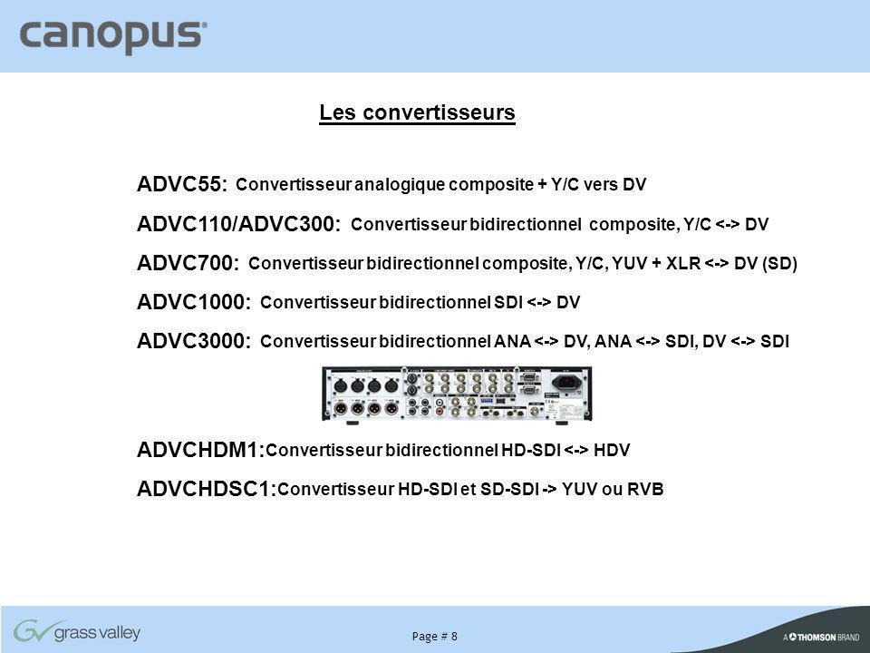 Page # 8 Les convertisseurs ADVC55: Convertisseur analogique composite + Y/C vers DV ADVC110/ADVC300: Convertisseur bidirectionnel composite, Y/C DV A