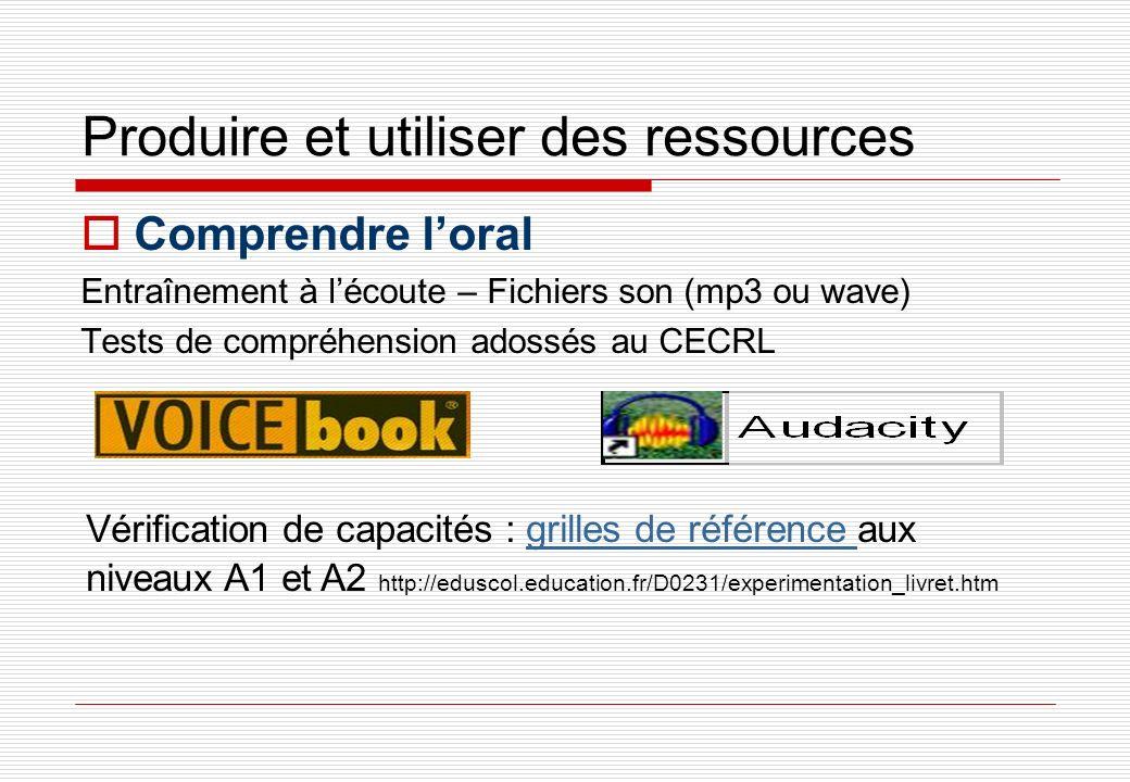 Produire et utiliser des ressources Comprendre loral Entraînement à lécoute – Fichiers son (mp3 ou wave) Tests de compréhension adossés au CECRL Vérif