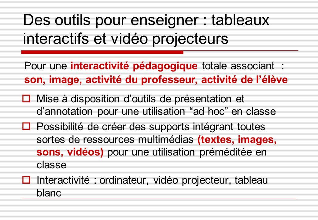 Des outils pour enseigner : tableaux interactifs et vidéo projecteurs Mise à disposition doutils de présentation et dannotation pour une utilisation a