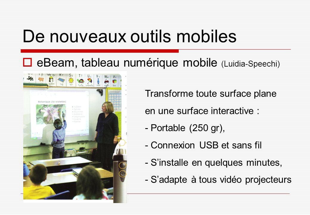 De nouveaux outils mobiles eBeam, tableau numérique mobile (Luidia-Speechi) Transforme toute surface plane en une surface interactive : - Portable (250 gr), - Connexion USB et sans fil - Sinstalle en quelques minutes, - Sadapte à tous vidéo projecteurs