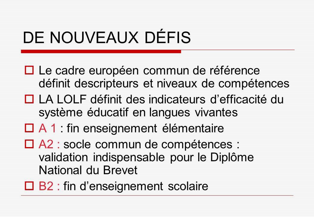 DE NOUVEAUX DÉFIS Le cadre européen commun de référence définit descripteurs et niveaux de compétences LA LOLF définit des indicateurs defficacité du