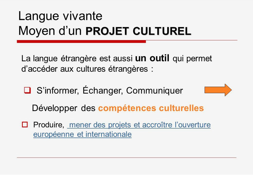 PROJET CULTUREL Langue vivante Moyen dun PROJET CULTUREL Produire, mener des projets et accroître louverture européenne et internationale mener des pr