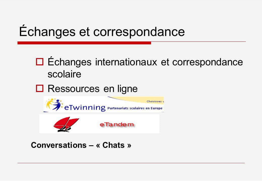 Échanges et correspondance Échanges internationaux et correspondance scolaire Ressources en ligne Conversations – « Chats »