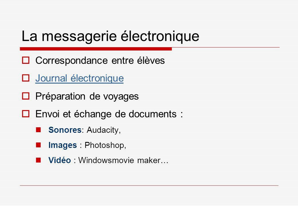 La messagerie électronique Correspondance entre élèves Journal électronique Préparation de voyages Envoi et échange de documents : Sonores: Audacity, Images : Photoshop, Vidéo : Windowsmovie maker…