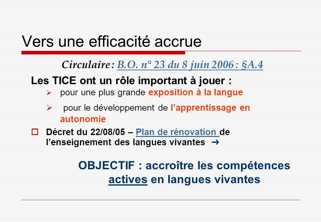 Vers une efficacité accrue Circulaire : B.O. n° 23 du 8 juin 2006 : §A.4B.O. n° 23 du 8 juin 2006 : §A.4 Les TICE ont un rôle important à jouer : pour