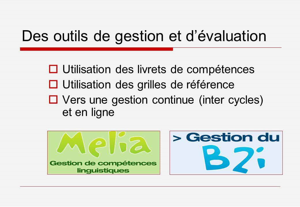 Des outils de gestion et dévaluation Utilisation des livrets de compétences Utilisation des grilles de référence Vers une gestion continue (inter cycles) et en ligne