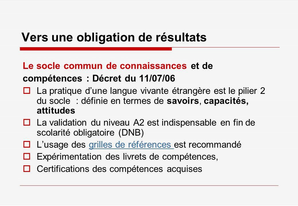 Vers une obligation de résultats Le socle commun de connaissances et de compétences : Décret du 11/07/06 La pratique dune langue vivante étrangère est