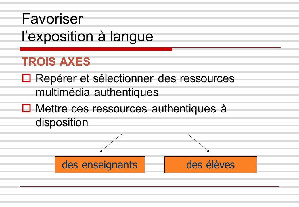 Favoriser lexposition à langue TROIS AXES Repérer et sélectionner des ressources multimédia authentiques Mettre ces ressources authentiques à disposition des enseignantsdes élèves