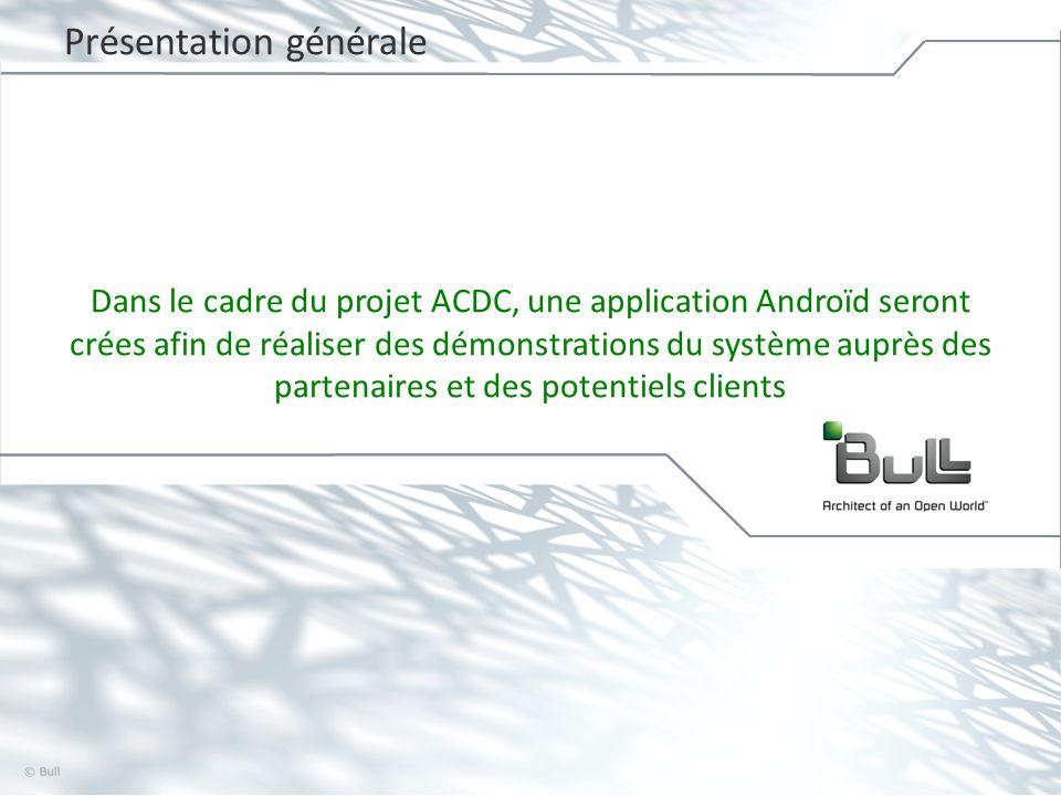 4 © Bull, 2012 Application Androïd Objectifs Montrer la capacité de BVS de transcoder à la volée des vidéos dans différents format, les stocker dans un cloud storage et les relire depuis le Cloud.