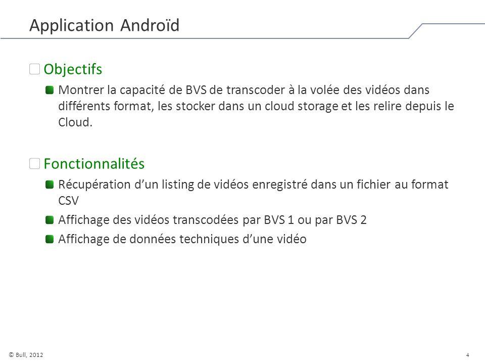 5 © Bull, 2012 Application Androïd Echanges Envoi des variables en POST à BVS lors de la demande sur lapplication BVS renvoie les codes de statut et lurl de la vidéo transcodée Lapplication lit la vidéo en streaming