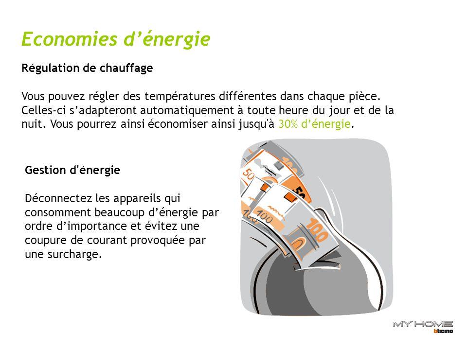 Economies dénergie Régulation de chauffage Vous pouvez régler des températures différentes dans chaque pièce.