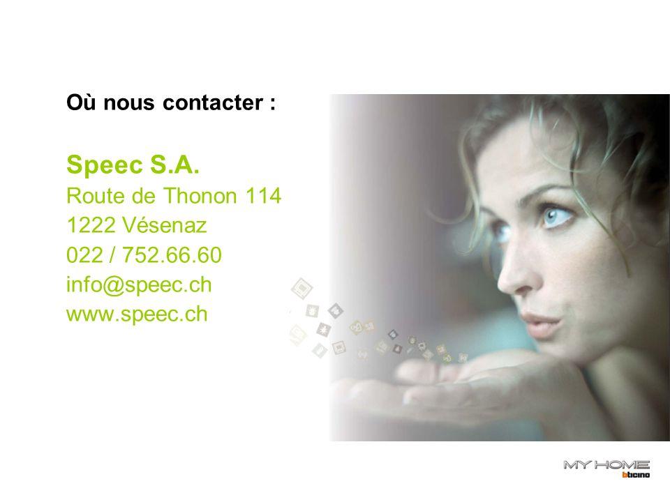 Où nous contacter : Speec S.A.