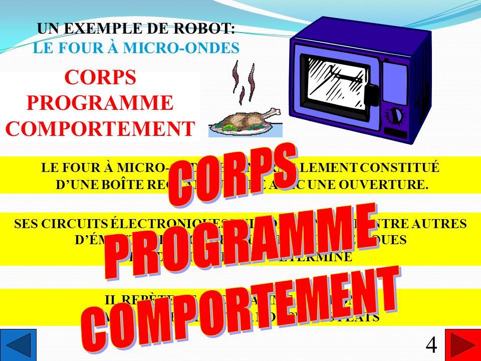 COMMENT RECONNAÎTRE UN ROBOT? robotn.m. (du tchèque robota, signifiant corvée) Appareil automatique qui, selon un programme fixe ou modifiable, est ca