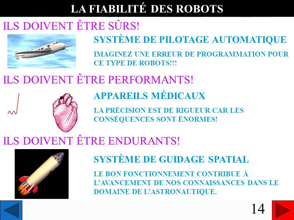 TROISIÈME CARACTÉRISTIQUE DUN ROBOT LE COMPORTEMENT 12 TOUT CE QUI CARACTÉRISE LES ACTIONS DU ROBOT
