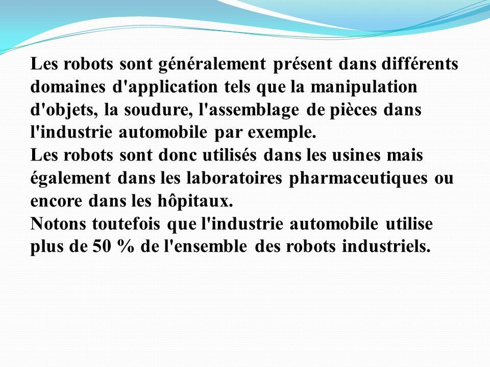 I-Introduction: Le but premier d'un robot est d'effectuer des tâches répétitives et/ou précises. Les robots permettent également d'effectuer des tâche