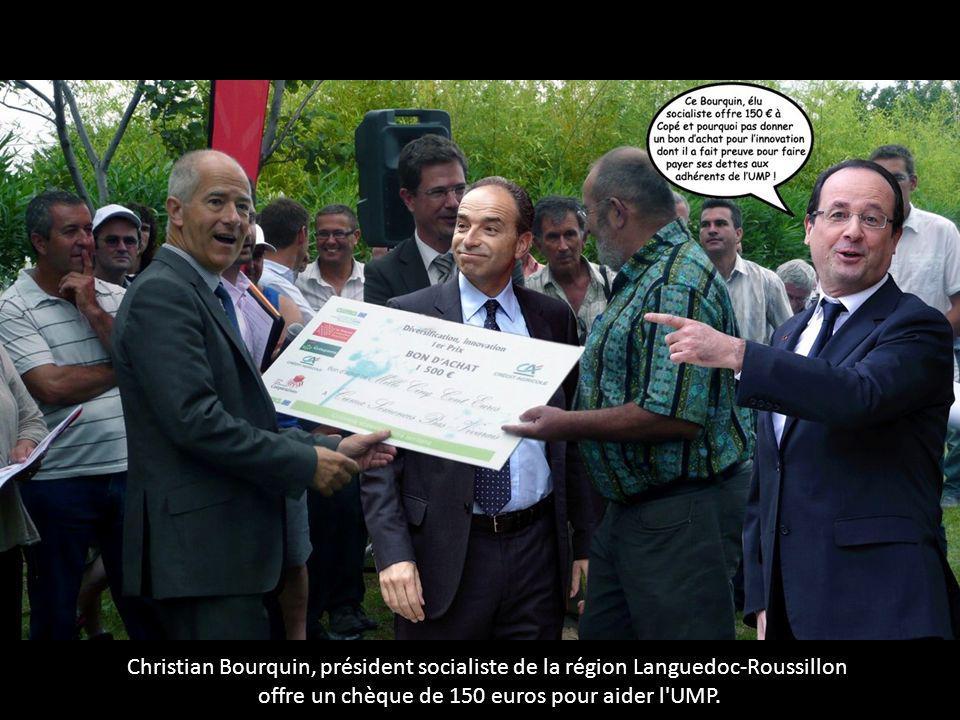 Christian Bourquin, président socialiste de la région Languedoc-Roussillon offre un chèque de 150 euros pour aider l'UMP.