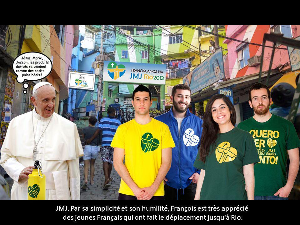 JMJ. Par sa simplicité et son humilité, François est très apprécié des jeunes Français qui ont fait le déplacement jusqu'à Rio.