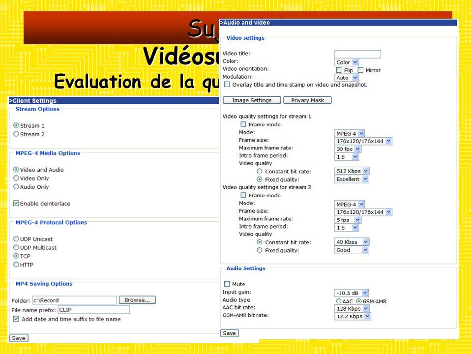 Sujet 3.3 Vidéosurveillance Evaluation de la qualité des transmissions Moyens : Un caméscope AIPTEK AHD 200 Un serveur vidéo VIVOTEK VS7100 configuré