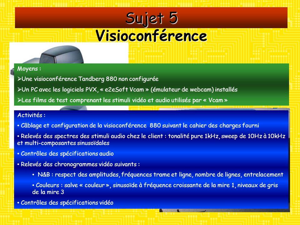 Sujet 5 Visioconférence Moyens : Une visioconférence Tandberg 880 non configurée Un PC avec les logiciels PVX, « e2eSoft Vcam » (émulateur de webcam)