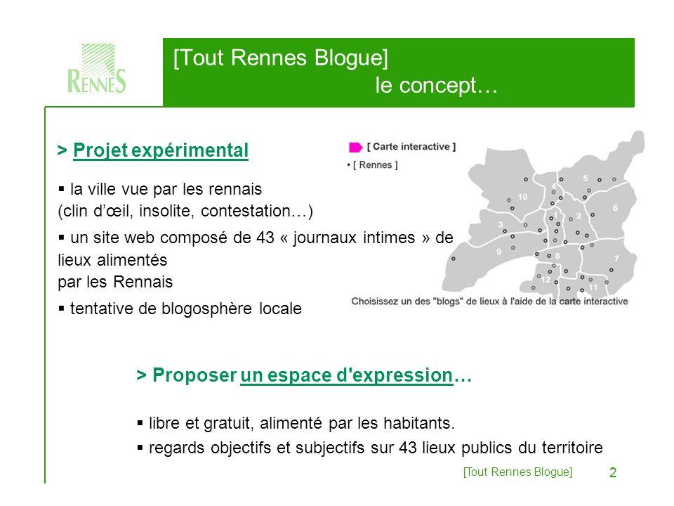 [Tout Rennes Blogue] 2 [Tout Rennes Blogue] le concept… > Proposer un espace d expression… libre et gratuit, alimenté par les habitants.
