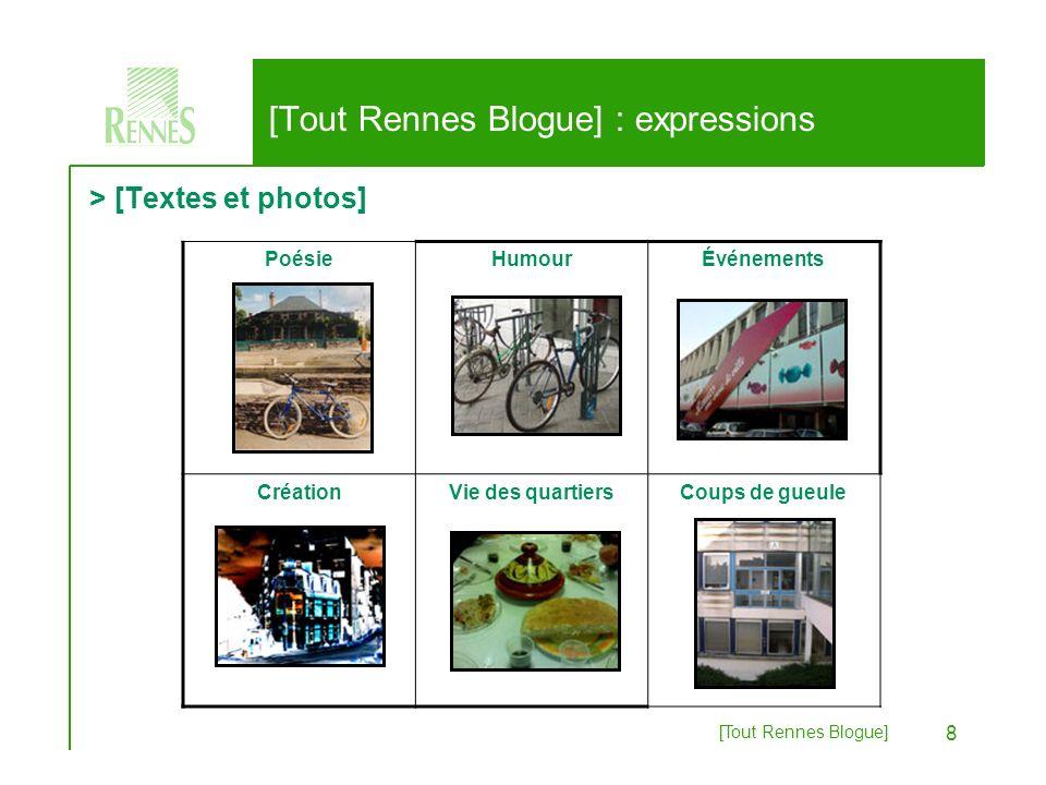 [Tout Rennes Blogue] 9 > [Textes et photos] [Tout Rennes Blogue] : expressions Rennais exilés Bloggeurs « stars »Discussions InsoliteImages détournéesArt
