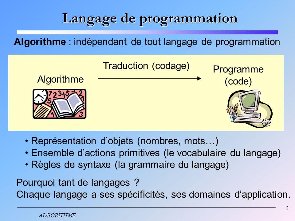 2 ALGORITHME Langage de programmation Algorithme : indépendant de tout langage de programmation Algorithme Programme (code) Traduction (codage) Représentation dobjets (nombres, mots…) Ensemble dactions primitives (le vocabulaire du langage) Règles de syntaxe (la grammaire du langage) Pourquoi tant de langages .