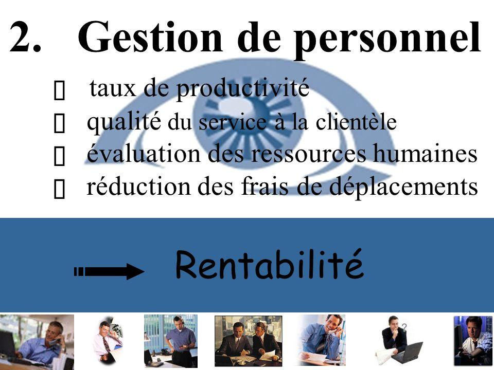 Rentabilité 2. Gestion de personnel taux de productivité qualité du service à la clientèle évaluation des ressources humaines réduction des frais de d