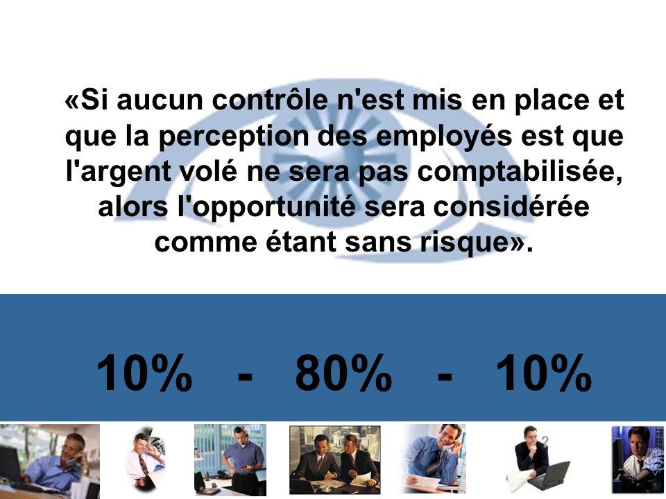 «Si aucun contrôle n est mis en place et que la perception des employés est que l argent volé ne sera pas comptabilisée, alors l opportunité sera considérée comme étant sans risque».