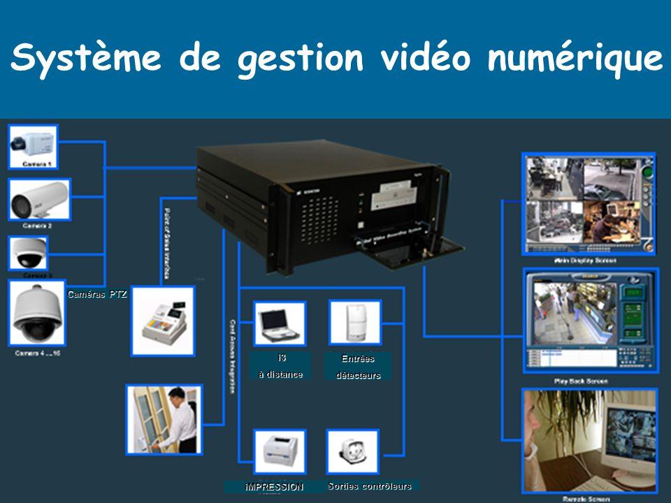 i3 i3 à distance Entréesdétecteurs Sorties contrôleurs Caméras PTZ iMPRESSION Système de gestion vidéo numérique