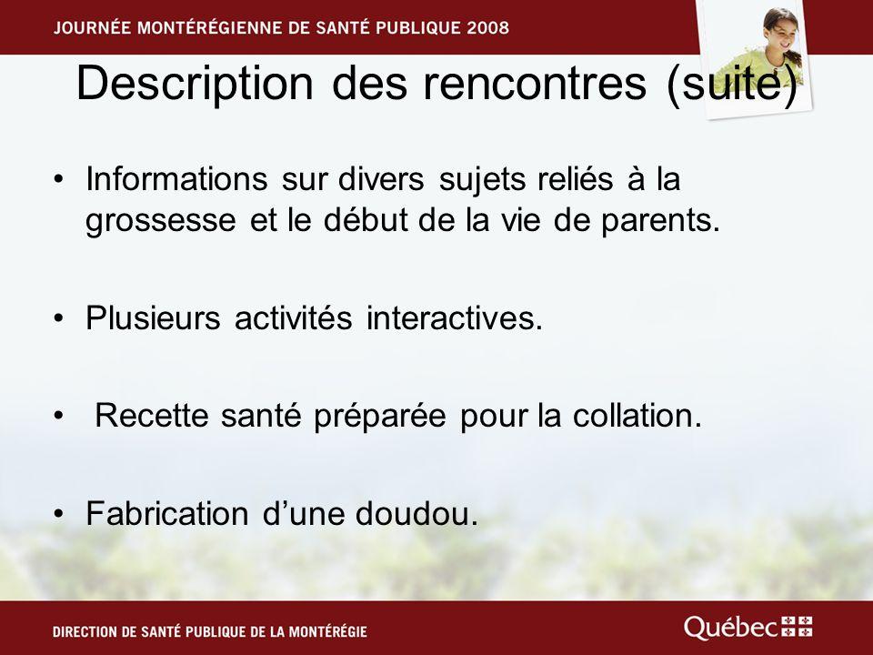 Description des rencontres (suite) Informations sur divers sujets reliés à la grossesse et le début de la vie de parents.