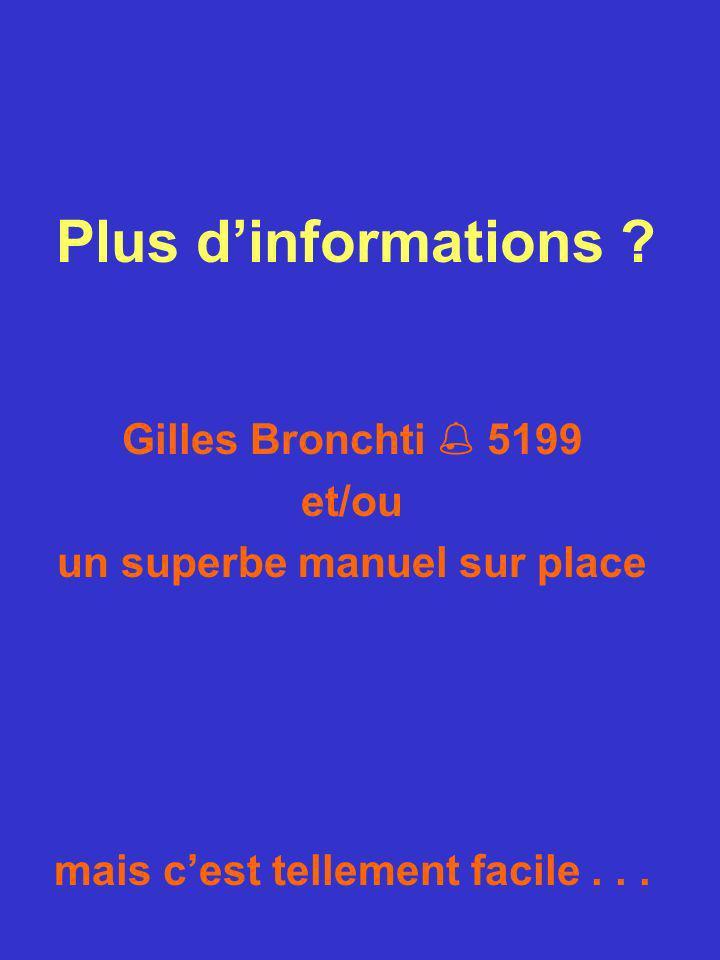 Plus dinformations ? Gilles Bronchti 5199 et/ou un superbe manuel sur place mais cest tellement facile...