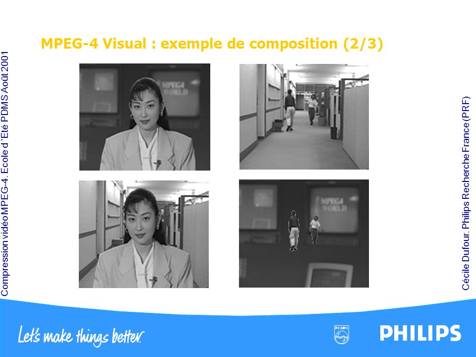 Compression vidéo MPEG-4. École d Été PDMS Août 2001 Cécile Dufour. Philips Recherche France (PRF) MPEG-4 Visual : exemple de composition (2/3)