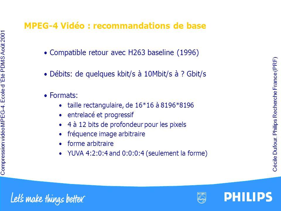 Compression vidéo MPEG-4. École d Été PDMS Août 2001 Cécile Dufour. Philips Recherche France (PRF) MPEG-4 Vidéo : recommandations de base Compatible r