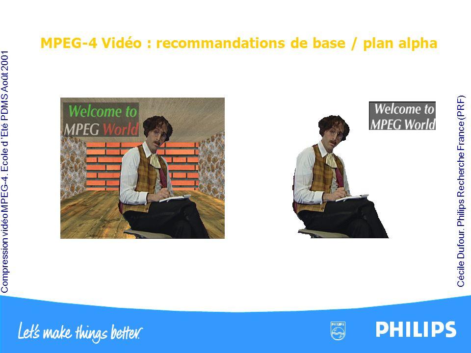 Compression vidéo MPEG-4. École d Été PDMS Août 2001 Cécile Dufour. Philips Recherche France (PRF) MPEG-4 Vidéo : recommandations de base / plan alpha