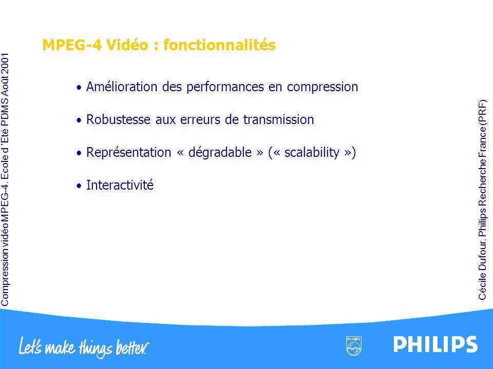 Compression vidéo MPEG-4. École d Été PDMS Août 2001 Cécile Dufour. Philips Recherche France (PRF) MPEG-4 Vidéo : fonctionnalités Amélioration des per