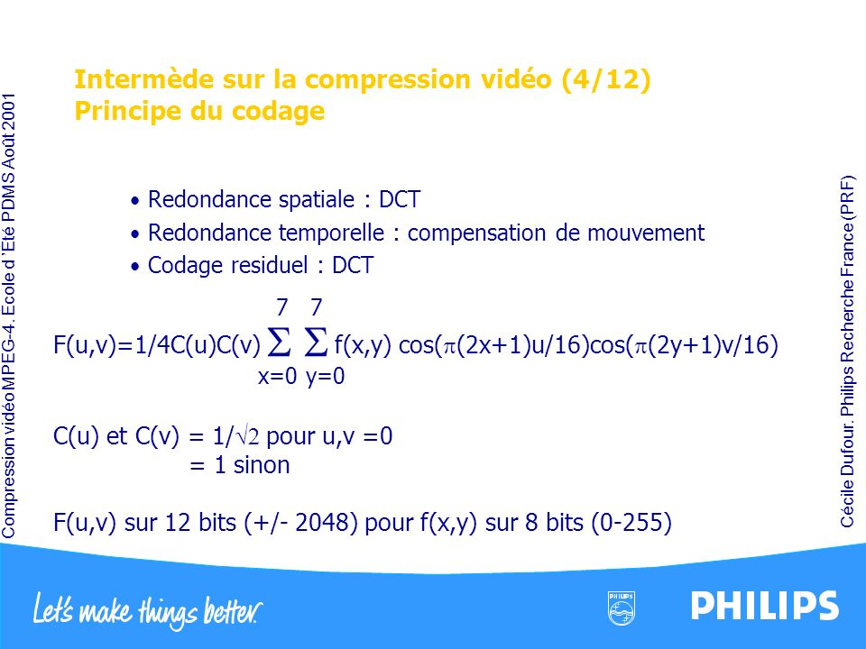 Compression vidéo MPEG-4. École d Été PDMS Août 2001 Cécile Dufour. Philips Recherche France (PRF) Intermède sur la compression vidéo (4/12) Principe