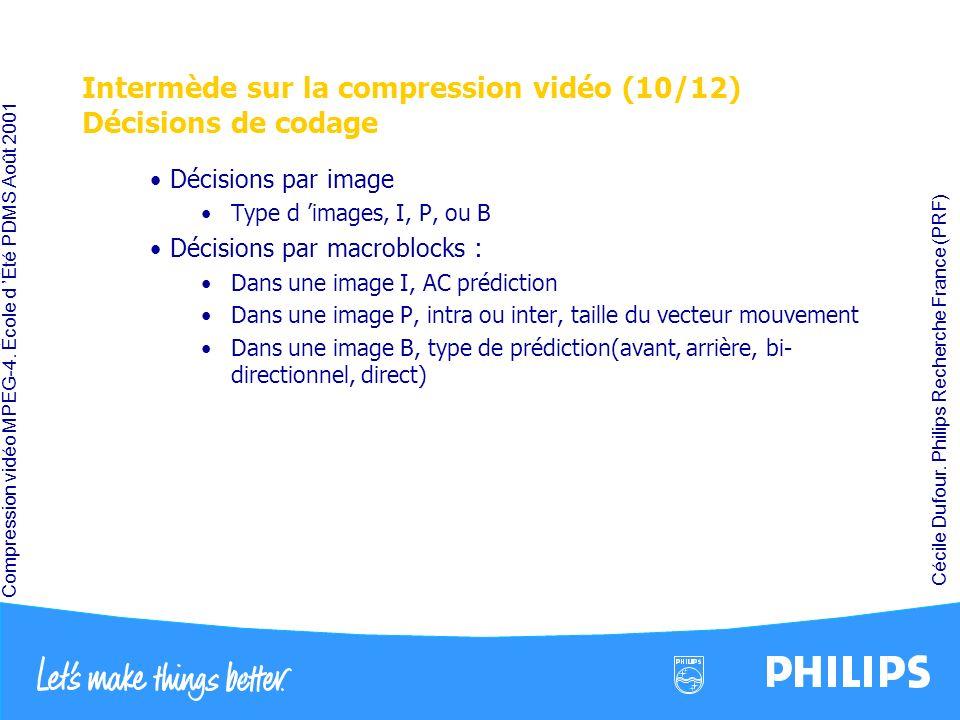 Compression vidéo MPEG-4. École d Été PDMS Août 2001 Cécile Dufour. Philips Recherche France (PRF) Intermède sur la compression vidéo (10/12) Décision