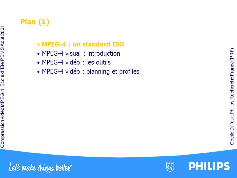 Compression vidéo MPEG-4. École d Été PDMS Août 2001 Cécile Dufour. Philips Recherche France (PRF) Plan (1) MPEG-4 : un standard ISO MPEG-4 visual : i