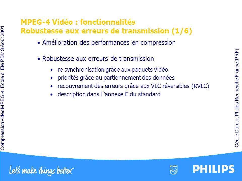 Compression vidéo MPEG-4. École d Été PDMS Août 2001 Cécile Dufour. Philips Recherche France (PRF) MPEG-4 Vidéo : fonctionnalités Robustesse aux erreu