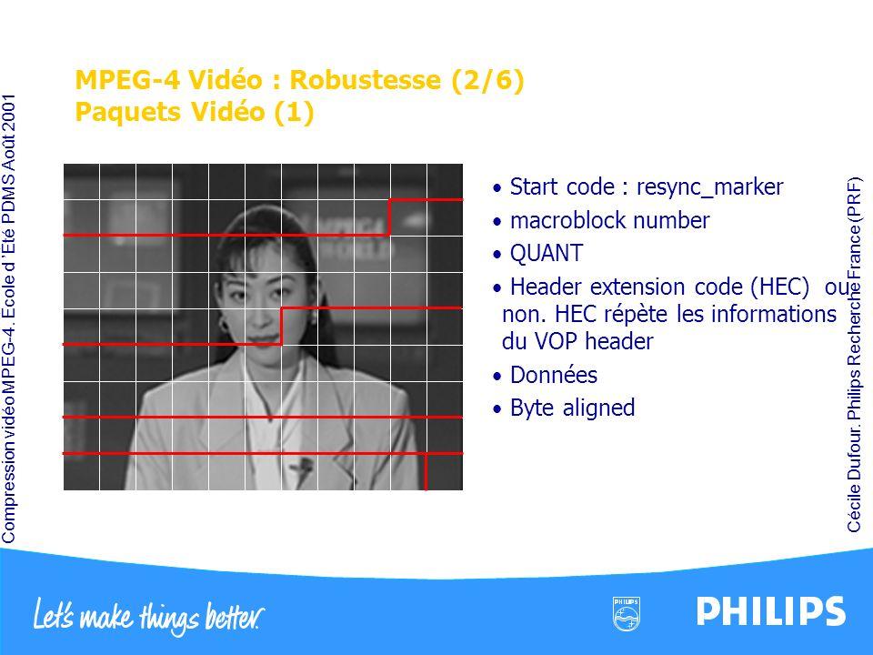 Compression vidéo MPEG-4. École d Été PDMS Août 2001 Cécile Dufour. Philips Recherche France (PRF) MPEG-4 Vidéo : Robustesse (2/6) Paquets Vidéo (1) S