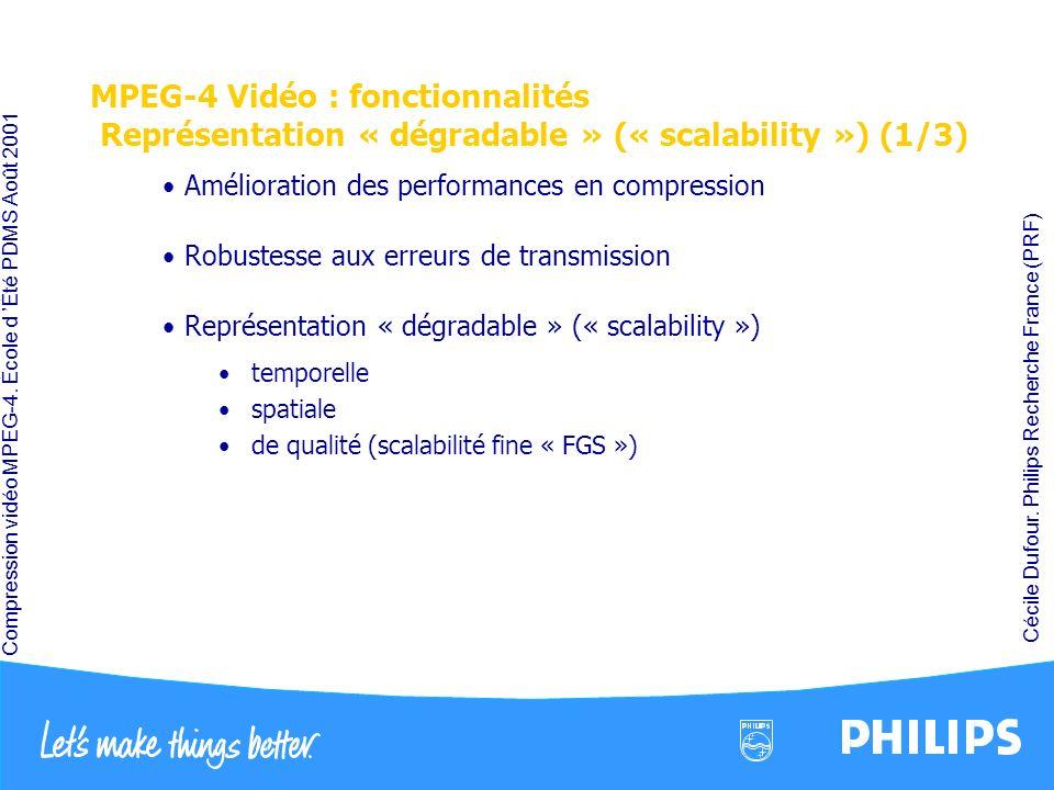 Compression vidéo MPEG-4. École d Été PDMS Août 2001 Cécile Dufour. Philips Recherche France (PRF) MPEG-4 Vidéo : fonctionnalités Représentation « dég