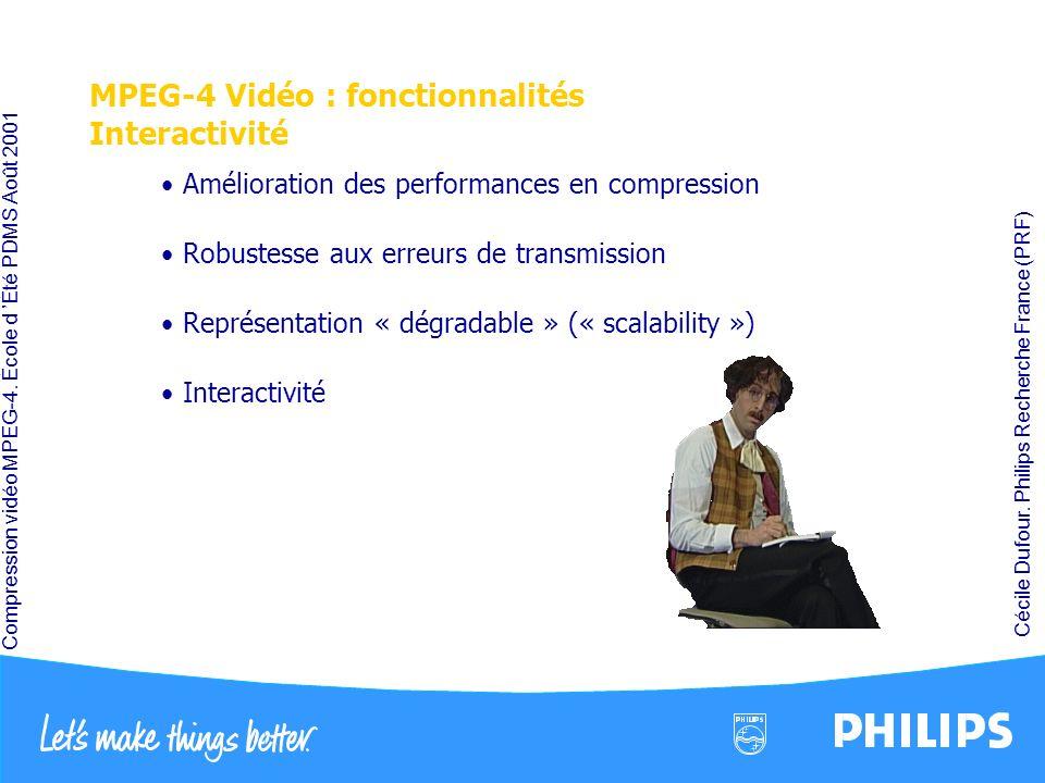 Compression vidéo MPEG-4. École d Été PDMS Août 2001 Cécile Dufour. Philips Recherche France (PRF) MPEG-4 Vidéo : fonctionnalités Interactivité Amélio