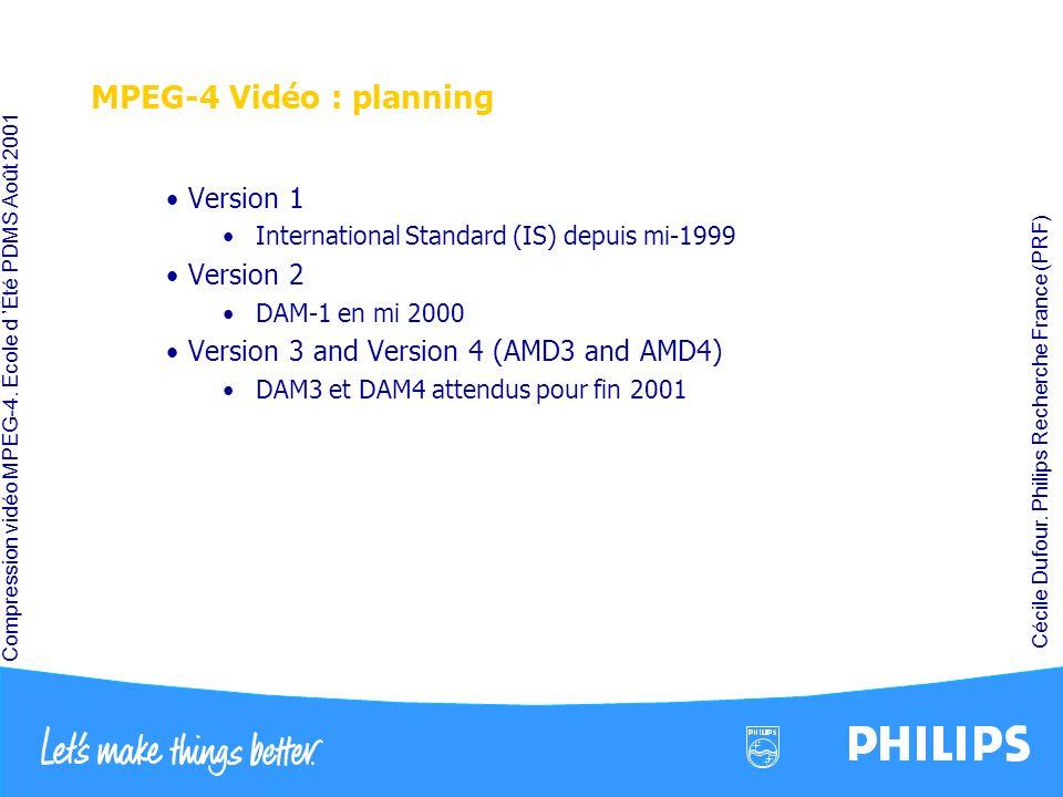 Compression vidéo MPEG-4. École d Été PDMS Août 2001 Cécile Dufour. Philips Recherche France (PRF) MPEG-4 Vidéo : planning Version 1 International Sta