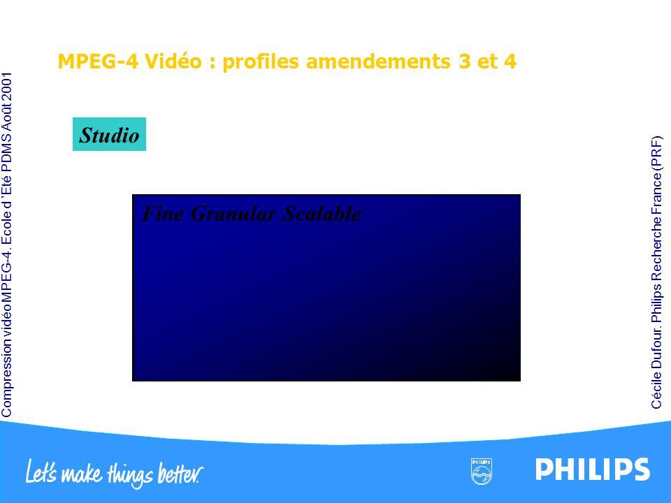 Compression vidéo MPEG-4. École d Été PDMS Août 2001 Cécile Dufour. Philips Recherche France (PRF) MPEG-4 Vidéo : profiles amendements 3 et 4 B-VOP MP