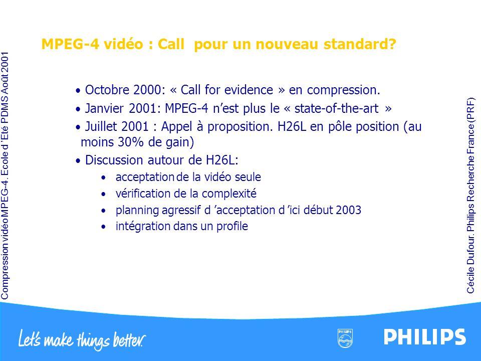 Compression vidéo MPEG-4. École d Été PDMS Août 2001 Cécile Dufour. Philips Recherche France (PRF) MPEG-4 vidéo : Call pour un nouveau standard? Octob