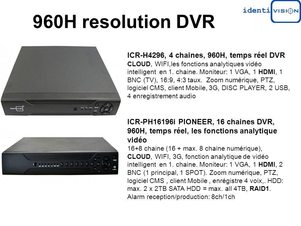 ICR-H4296, 4 chaines, 960H, temps réel DVR CLOUD, WIFI,les fonctions analytiques vidéo intelligent en 1. chaine. Moniteur: 1 VGA, 1 HDMI, 1 BNC (TV),