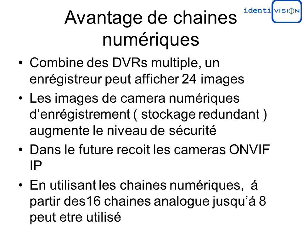 Avantage de chaines numériques Combine des DVRs multiple, un enrégistreur peut afficher 24 images Les images de camera numériques denrégistrement ( stockage redundant ) augmente le niveau de sécurité Dans le future recoit les cameras ONVIF IP En utilisant les chaines numériques, á partir des16 chaines analogue jusquá 8 peut etre utilisé