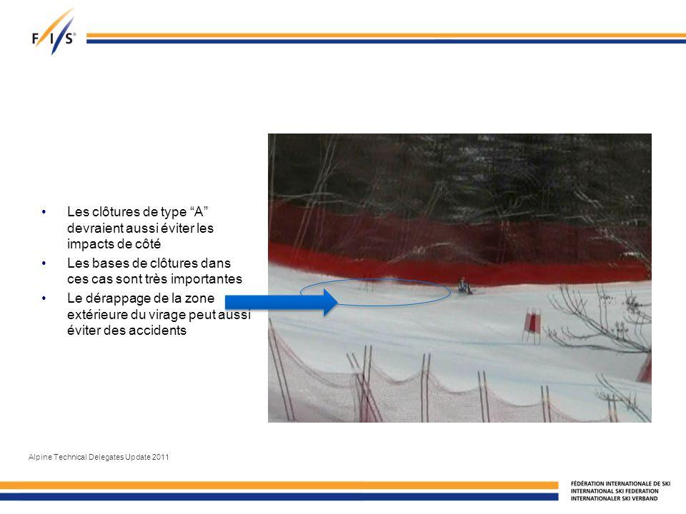 Les clôtures de type A devraient aussi éviter les impacts de côté Les bases de clôtures dans ces cas sont très importantes Le dérappage de la zone extérieure du virage peut aussi éviter des accidents Alpine Technical Delegates Update 2011